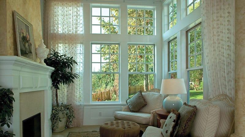 Milgard Fiberglass windows white in living room