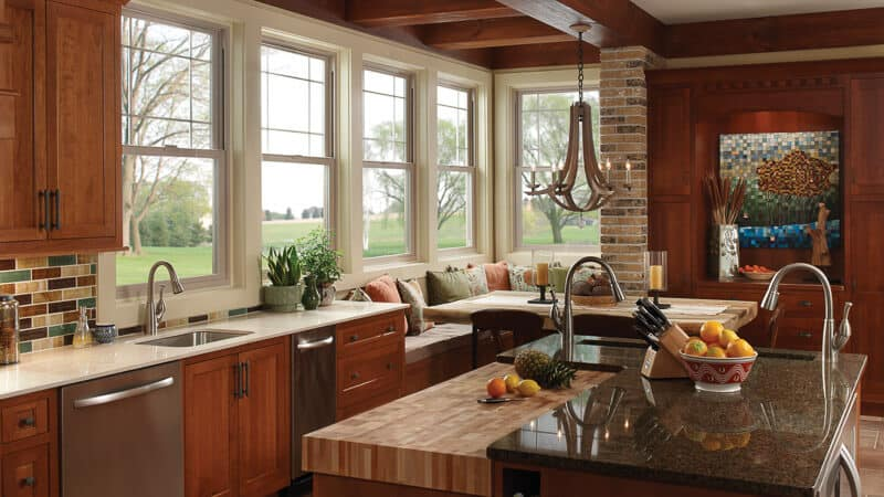 Milgard Vinyl Windows single hung in kitchen